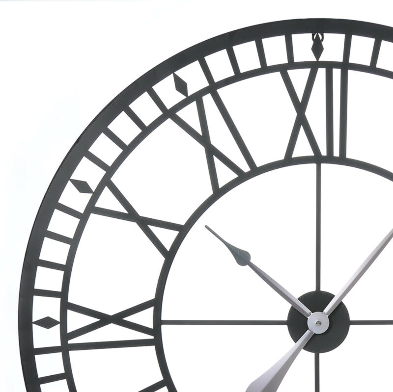 Large Outdoor Garden Wall Clock Big Roman Numerals Giant Open Face Metal 80Cm 9