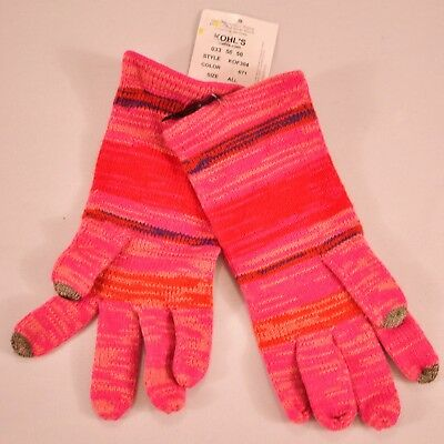 women's Touch & Go gloves pink stripe one size smart phone touch finger MSR $30 2