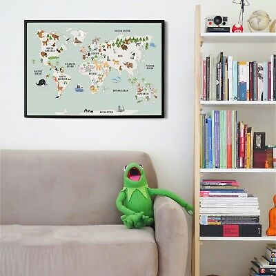 Children's A1 Animal Map of the World Large Poster Print Wall Art for Kids Room 4