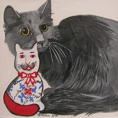 "C175   Original Acrylic Painting By Ljh        ""Pixie Bob""    Cat  Kitten 5"