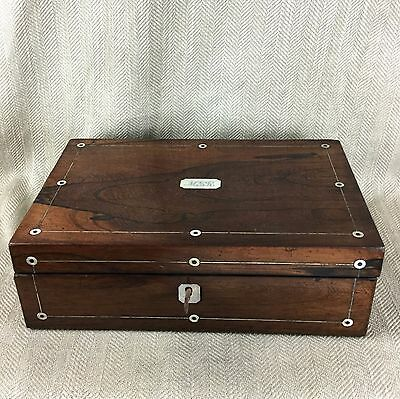 Antique cigar Humidor Victorian Rosewood Box Inlaid Mother Of Pearl 3