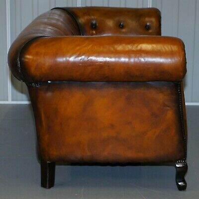 1 Of 2 Restored Victorian Gentleman's Club Chesterfield Leather Sofas Kilim Seat 9