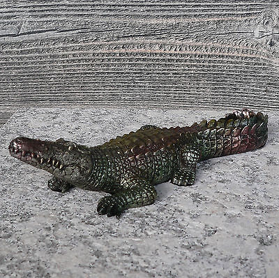 Krokodil silber 23,5cm Skulptur Alligator Tierfigur Dekofigur Deko Orient Afrika