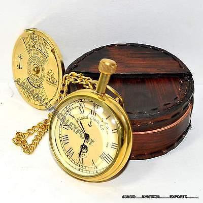 Antique Style Solid Brass Pocket Pocket Watch Working Box 100 Year Calander Case 2