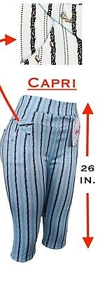 Women's Stretch Striped Casual Pull-On Pants Leggings with Pockets Ankle & Capri 4