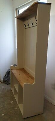 Handmade solid Pine 3ft Hall Stand Shoe Storage Coat Hooks Farrow and Ball 6