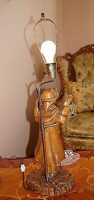 """2 Vtg Art Deco Era Wooden Table Lamps Chandeliers Fixtures   """" Light Keepers"""" 5"""
