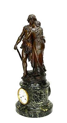 Antique French NAPOLEON III Antony Bailly Bronze Figure Marble Base Mantel Clock 2