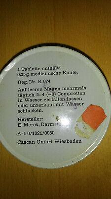 Blechdose Kohle Compretten Cascan  E. Merck Darmstadt Werbung Blech Dose antik 2