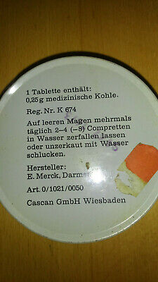 Blechdose Kohle Compretten Cascan  E. Merck Darmstadt Werbung Blech Dose antik 4
