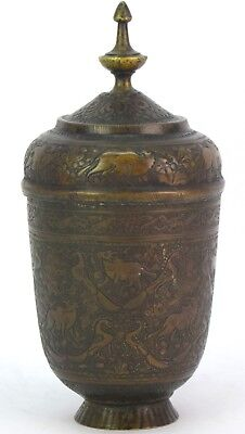 Real Mughal Rare Old Unique Shape Hand Crafted Animal Figures Brass Pot G3-52 US 5