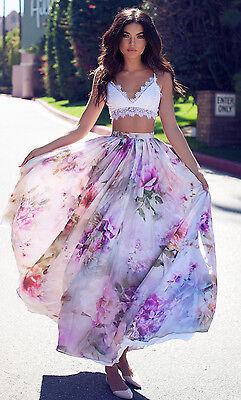 AU Chiffon BOHO Womens Floral Jersey Gypsy Long Maxi Full Skirt Beach Sun Dress 6