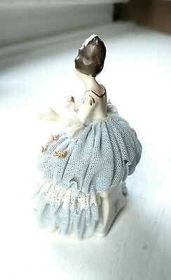 Delicate Antique Akerman & Fitze German Dresden Lace Gown Figurine #1964 Signed 6
