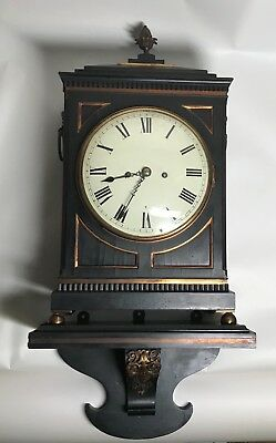 Early 19th Century Ebony or Ebonized  Regency Fusee Bracket Clock with Bracket. 4