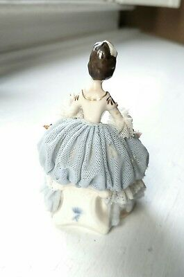 Delicate Antique Akerman & Fitze German Dresden Lace Gown Figurine #1964 Signed 5
