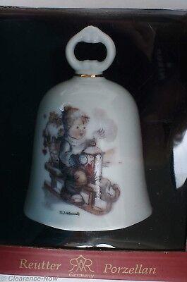 MJ Hummel Reutter Porzellan Germany Christmas Bell Ornament Sledding Boy 6340