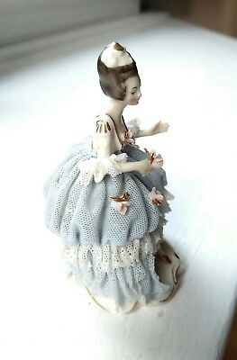 Delicate Antique Akerman & Fitze German Dresden Lace Gown Figurine #1964 Signed 4