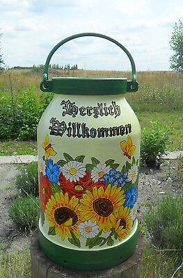 Milchkanne,20-L.-Bodenvase-handbemalt-2 Motive-Blumen-Winter/Reh-Schneemann