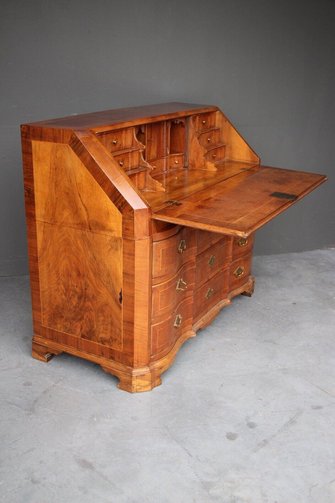 Rare antique 18th century European baroque walnut inlaid secretaire bureau desk 5
