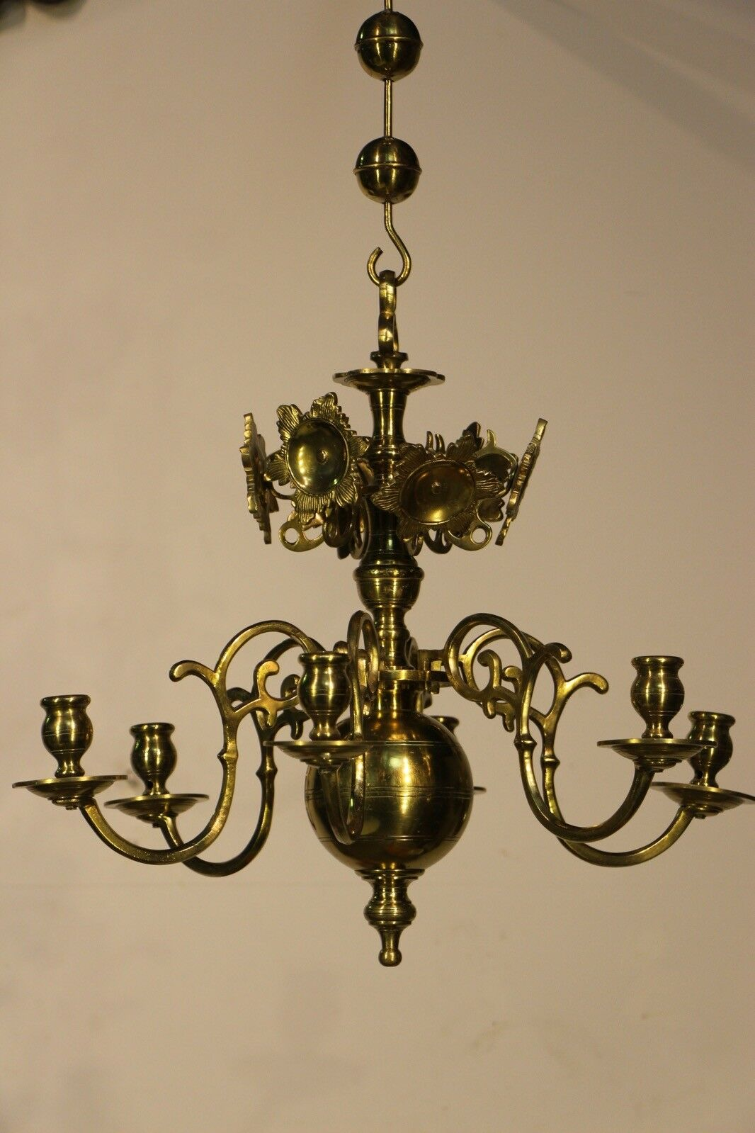 Antique vintage brass Dutch chandelier five arms ornate dragon head scrolls 1920 9