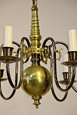 Antique Provincial Br Chandelier With 6 Arms Dutch Or French Style Light