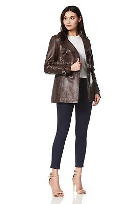 Ladies Real Leather Jacket Brown Trench Mid Length Designer Coat Chic Style1123