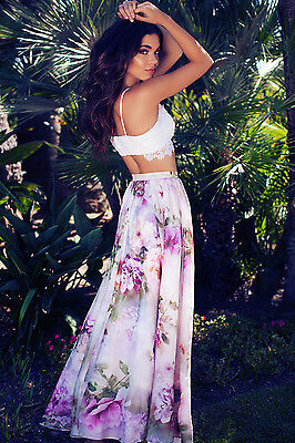 AU Chiffon BOHO Womens Floral Jersey Gypsy Long Maxi Full Skirt Beach Sun Dress 7