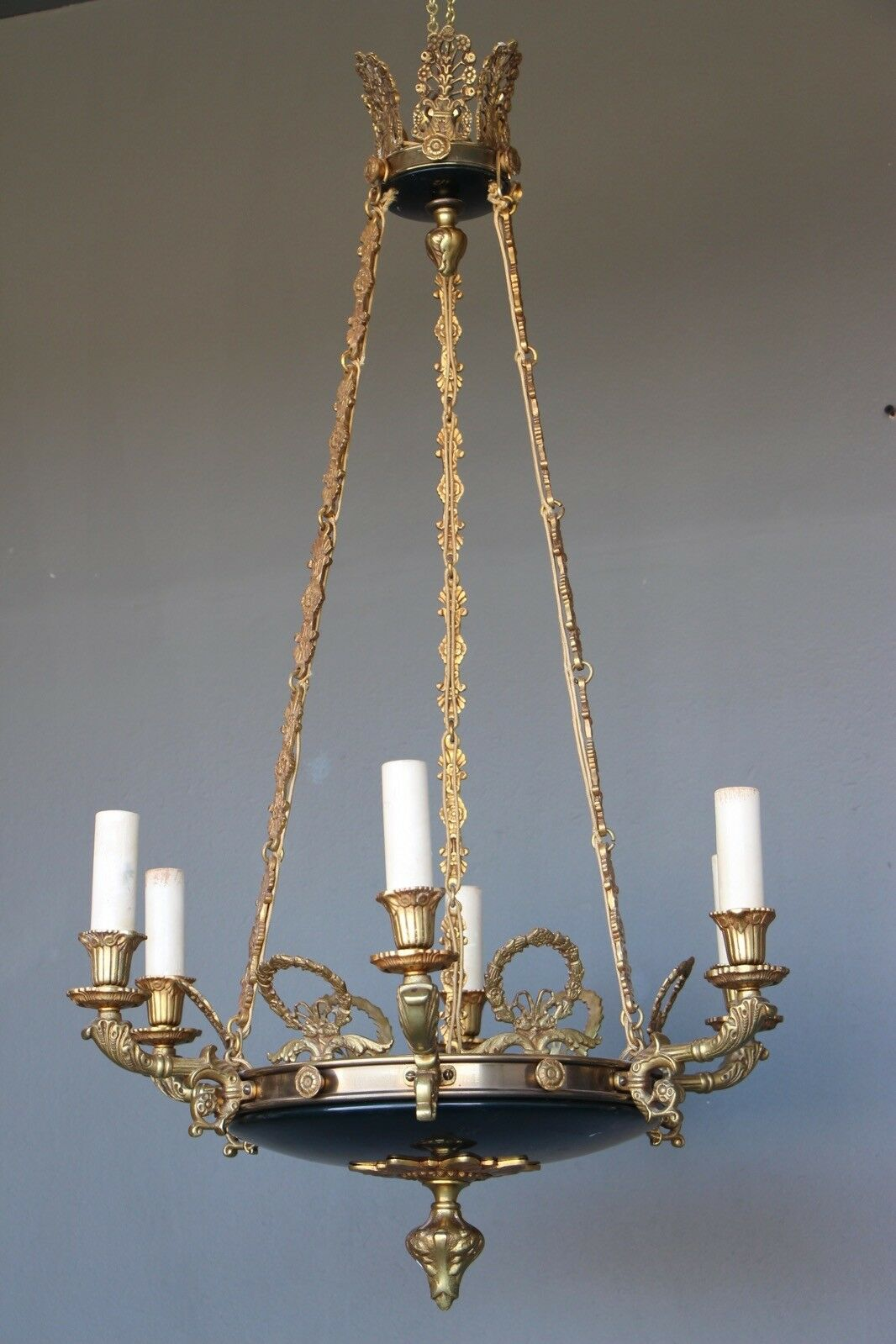 Antique French Empire dish gilt ceiling light cast bronze chandelier 6 arms 1930 3
