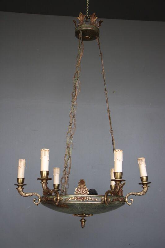 Big antique French Empire dish shaped ceiling light cast bronze chandelier 6 arm 7