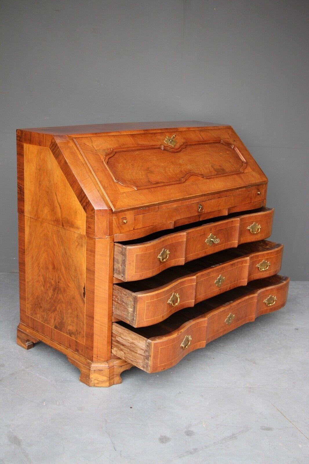 Rare antique 18th century European baroque walnut inlaid secretaire bureau desk 11