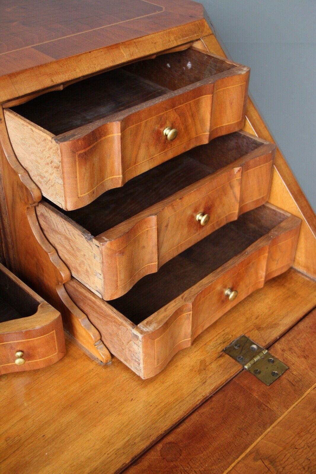 Rare antique 18th century European baroque walnut inlaid secretaire bureau desk 8