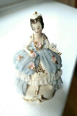 Delicate Antique Akerman & Fitze German Dresden Lace Gown Figurine #1964 Signed 3