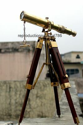 Vintage Solid Brass Telescope With Wooden Tripod Nautical Navy Ship Telescope 2