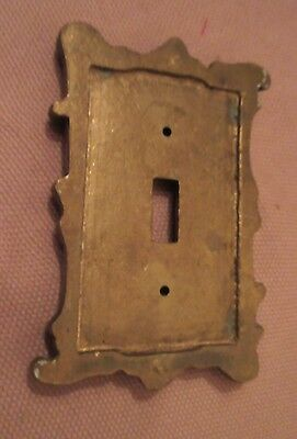 rare antique ornate thick solid brass light switch plate electric outlet cover 6