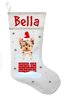 Yorkshire Terrier Christmas Stocking Personalized In Red Green Or