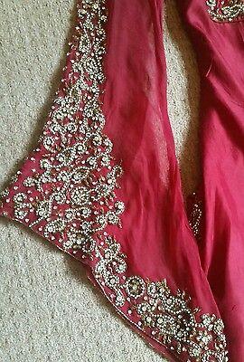Deep red / Burgundy Silk  Heavy Jewelled Diamante work long kameez/pajama suit 9