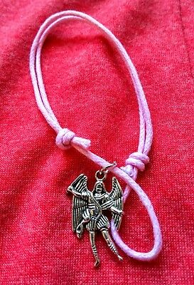 Personal Gift Cord Bracelet//Anklet Spiritual Your Guardian Angel Silver Charm