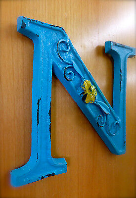 "BLUE CAST IRON WALL LETTER ""N"" 6.5"" TALL rustic vintage decor sign child nursery 2"