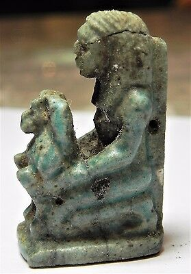Zurqieh - Af1815- Ancient Egypt,  Large Faience Female With Baboon Amulet. 1075