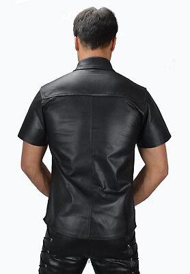 AW-666 Lederhemd Schwarze leder hemd,Soft leather shirt en cuir,Lederuniform 3