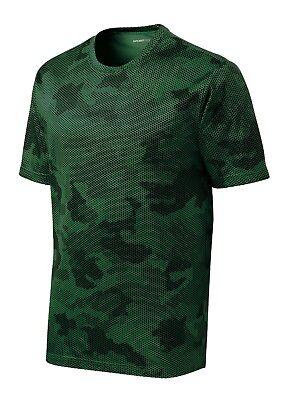 *NEW*SportTek DriFit T-Shirt Workout Performance Moisture Wicking Camo Hex ST370 2