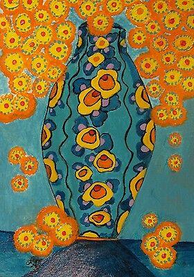 "C311    Original Acrylic  Painting By Ljh  ""Rose Bowl"" 3"