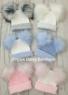 Baby Girls & Boys Lovely Knitted Double Pom Pom Hats Newborn First Size ☆ 2