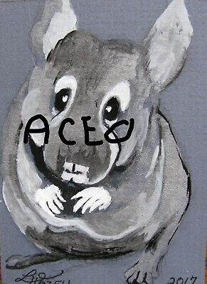"A869    Original Acrylic Aceo Painting By Ljh    ""Pete Rabbit""  One-Of A-Kind 11"