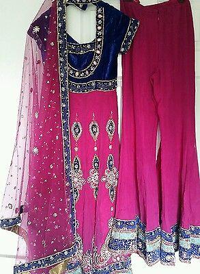 Shocking Pink & Royal Blue Heavy Jewelled  Diamante Work Shrara /wedding/party 2