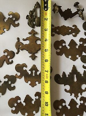Antique Salvage Decorative Lot Of Solid Brass Cabinet Drawer Handle Cover Plates 9