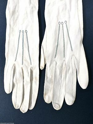White Kid Leather Gloves Antique VTG Long Opera Length Wedding French 10 Button 3