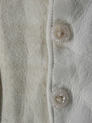 White Kid Leather Gloves Antique VTG Long Opera Length Wedding French 10 Button 5