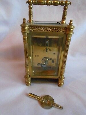 Rare Diette Hour Antique Elaborate  Timepiece Carriage Clock In Gwo + Key 6