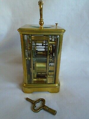 Antique 1880 Stunning Margaine  Repeater Carriage Clock + Key In Gwo 4